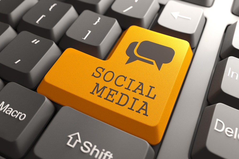 Social Media. Orange Button on Computer Keyboard. Social Media Concept..jpeg