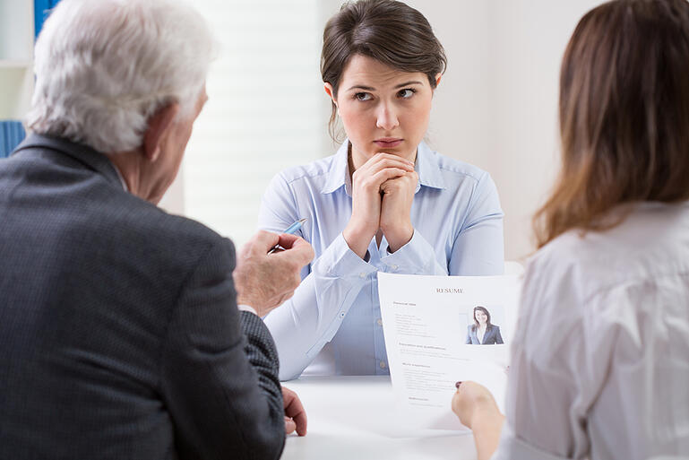 Woman during difficult job interview at a corporation-2